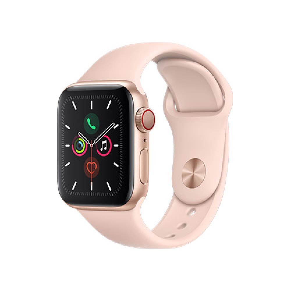 שעון אפל Apple Watch Series 5 GPS + Cellular Aluminum Case 44mm בצבע זהב עם רצועת ספורט ורודה